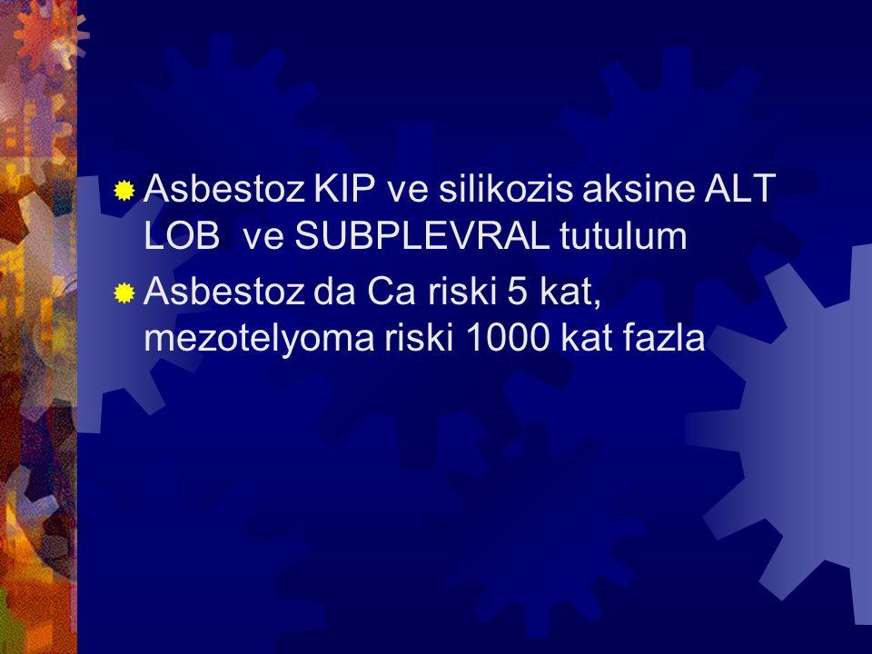  Asbestoz KIP ve silikozis aksine ALT LOB ve SUBPLEVRAL tutulum  Asbestoz da Ca riski 5 kat, mezotelyoma riski 1000 kat fazla