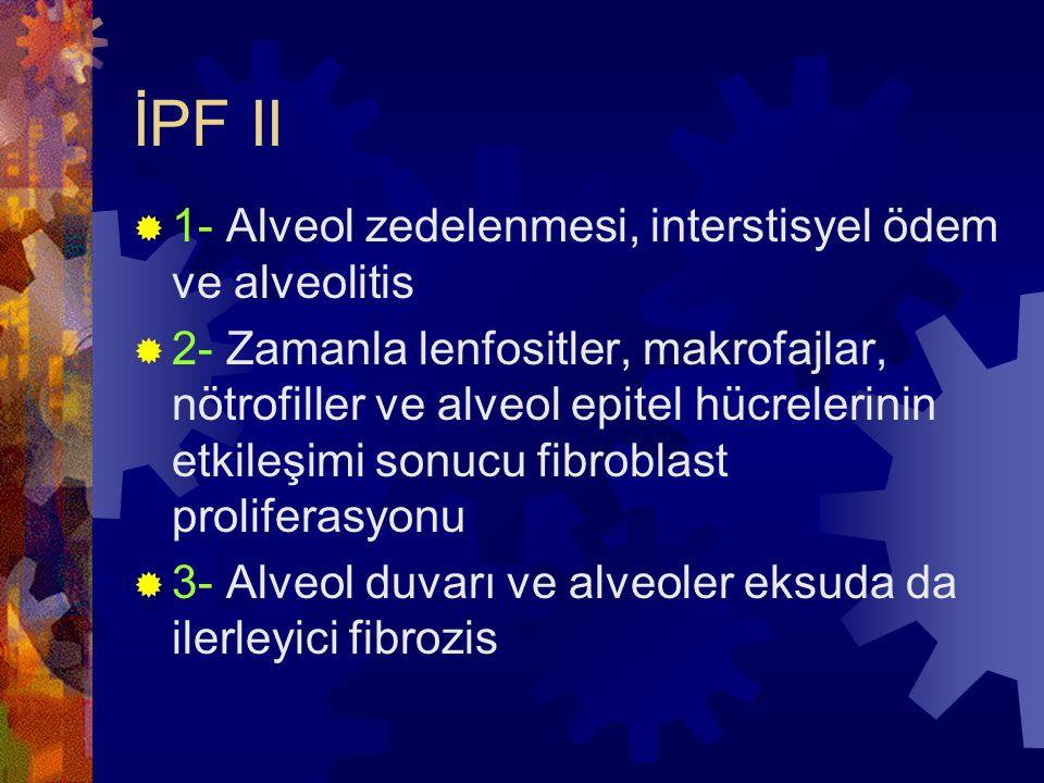 İPF II  1- Alveol zedelenmesi, interstisyel ödem ve alveolitis  2- Zamanla lenfositler, makrofajlar, nötrofiller ve alveol epitel hücrelerinin etkileşimi sonucu fibroblast proliferasyonu  3- Alveol duvarı ve alveoler eksuda da ilerleyici fibrozis
