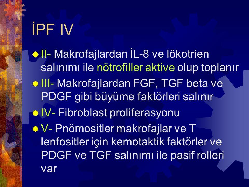 İPF IV  II- Makrofajlardan İL-8 ve lökotrien salınımı ile nötrofiller aktive olup toplanır  III- Makrofajlardan FGF, TGF beta ve PDGF gibi büyüme faktörleri salınır  IV- Fibroblast proliferasyonu  V- Pnömositler makrofajlar ve T lenfositler için kemotaktik faktörler ve PDGF ve TGF salınımı ile pasif rolleri var