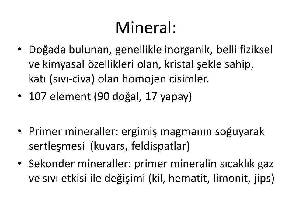 Mineral: Doğada bulunan, genellikle inorganik, belli fiziksel ve kimyasal özellikleri olan, kristal şekle sahip, katı (sıvı-civa) olan homojen cisimle