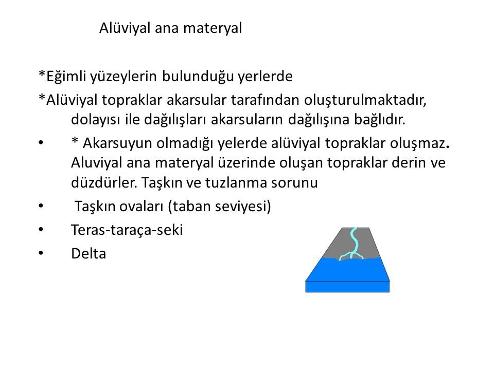 Alüviyal ana materyal *Eğimli yüzeylerin bulunduğu yerlerde *Alüviyal topraklar akarsular tarafından oluşturulmaktadır, dolayısı ile dağılışları akars