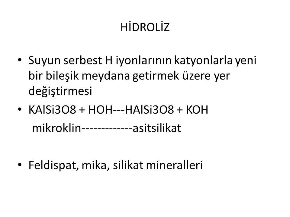 HİDROLİZ Suyun serbest H iyonlarının katyonlarla yeni bir bileşik meydana getirmek üzere yer değiştirmesi KAlSi3O8 + HOH---HAlSi3O8 + KOH mikroklin---