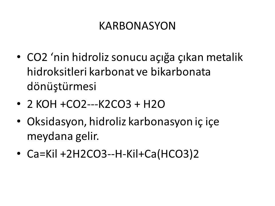 KARBONASYON CO2 'nin hidroliz sonucu açığa çıkan metalik hidroksitleri karbonat ve bikarbonata dönüştürmesi 2 KOH +CO2---K2CO3 + H2O Oksidasyon, hidro
