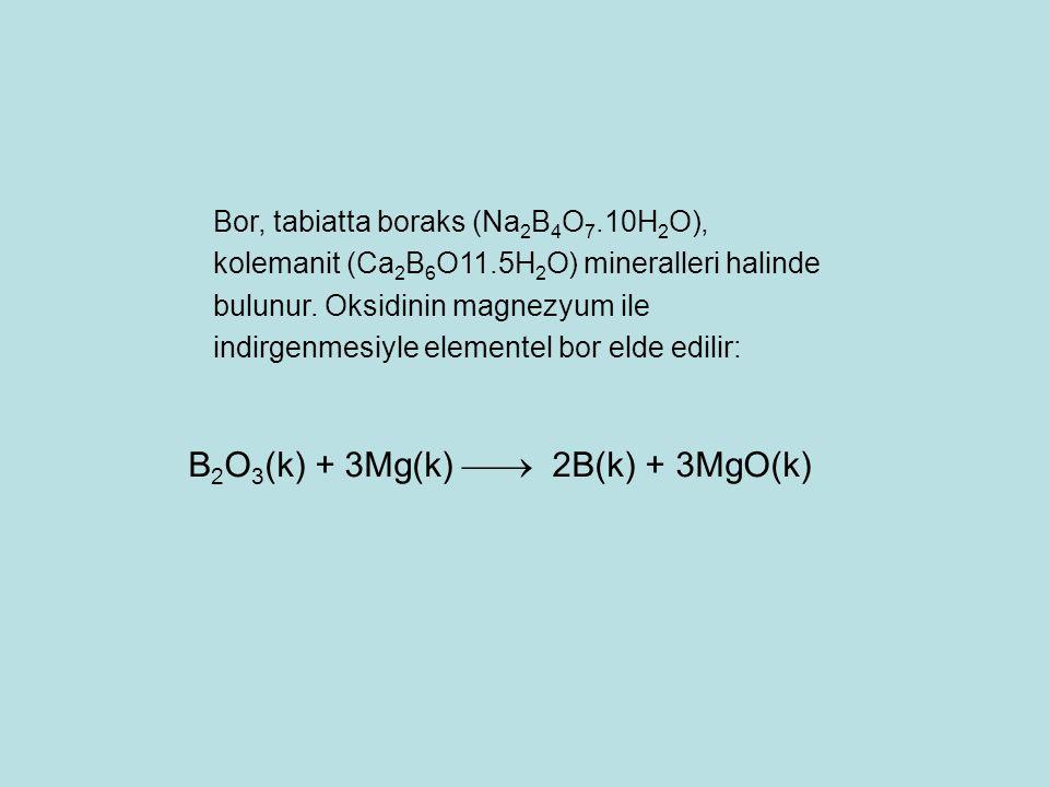 Bor, tabiatta boraks (Na 2 B 4 O 7.10H 2 O), kolemanit (Ca 2 B 6 O11.5H 2 O) mineralleri halinde bulunur. Oksidinin magnezyum ile indirgenmesiyle elem