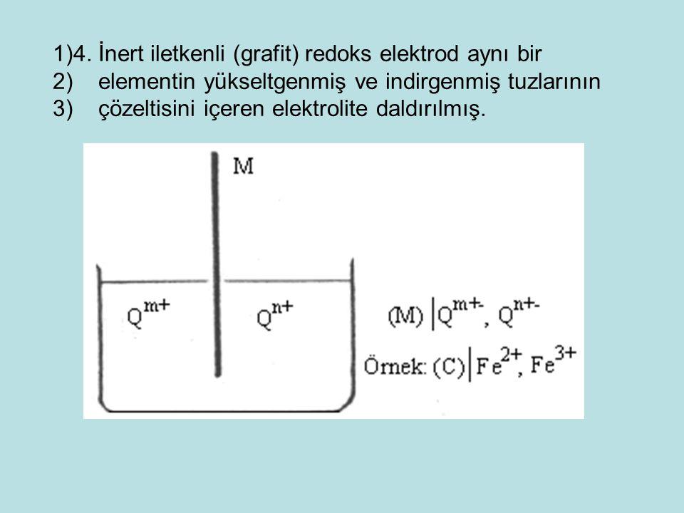 1)4. İnert iletkenli (grafit) redoks elektrod aynı bir 2) elementin yükseltgenmiş ve indirgenmiş tuzlarının 3) çözeltisini içeren elektrolite daldırıl