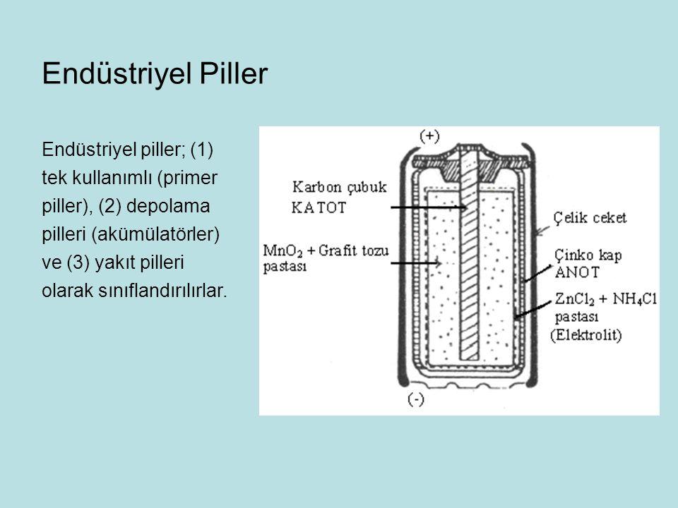 Endüstriyel piller; (1) tek kullanımlı (primer piller), (2) depolama pilleri (akümülatörler) ve (3) yakıt pilleri olarak sınıflandırılırlar.