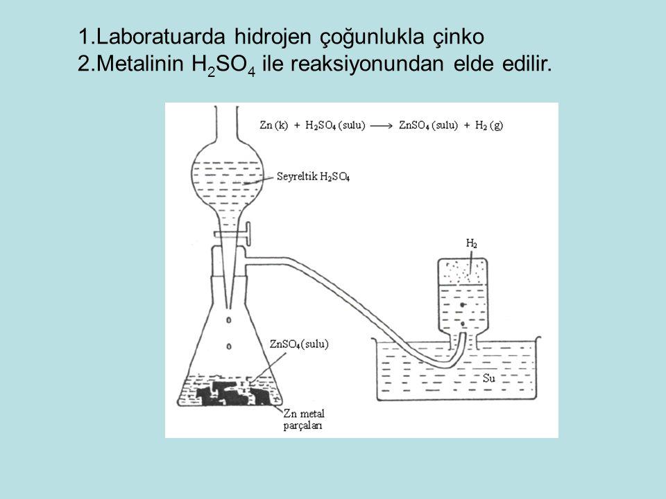 1.Laboratuarda hidrojen çoğunlukla çinko 2.Metalinin H 2 SO 4 ile reaksiyonundan elde edilir.