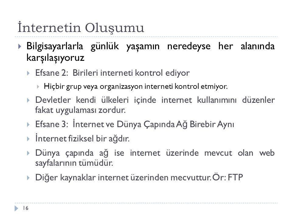 İnternetin Oluşumu 16  Bilgisayarlarla günlük yaşamın neredeyse her alanında karşılaşıyoruz  Efsane 2: Birileri interneti kontrol ediyor  Hiçbir gr