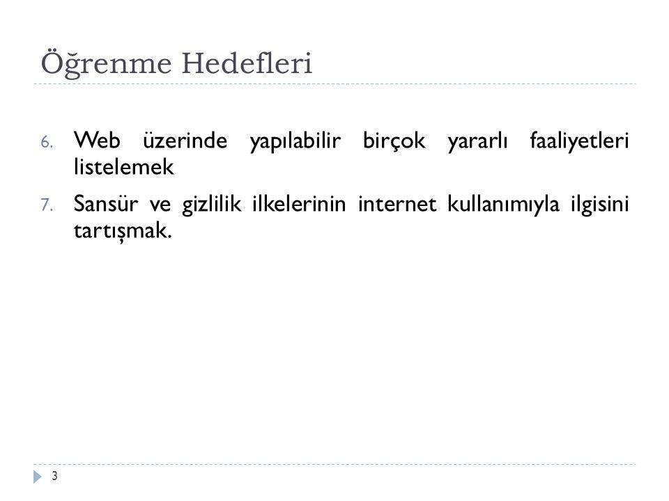 Öğrenme Hedefleri 3 6. Web üzerinde yapılabilir birçok yararlı faaliyetleri listelemek 7. Sansür ve gizlilik ilkelerinin internet kullanımıyla ilgisin