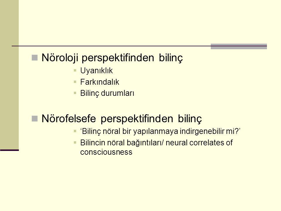 Nöroloji perspektifinden bilinç  Uyanıklık  Farkındalık  Bilinç durumları Nörofelsefe perspektifinden bilinç  'Bilinç nöral bir yapılanmaya indirg