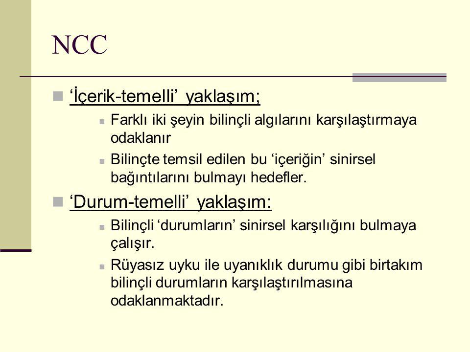 NCC 'İçerik-temelli' yaklaşım; Farklı iki şeyin bilinçli algılarını karşılaştırmaya odaklanır Bilinçte temsil edilen bu 'içeriğin' sinirsel bağıntılar