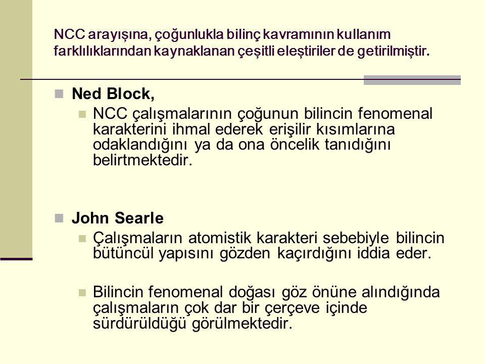 NCC arayışına, çoğunlukla bilinç kavramının kullanım farklılıklarından kaynaklanan çeşitli eleştiriler de getirilmiştir. Ned Block, NCC çalışmalarının