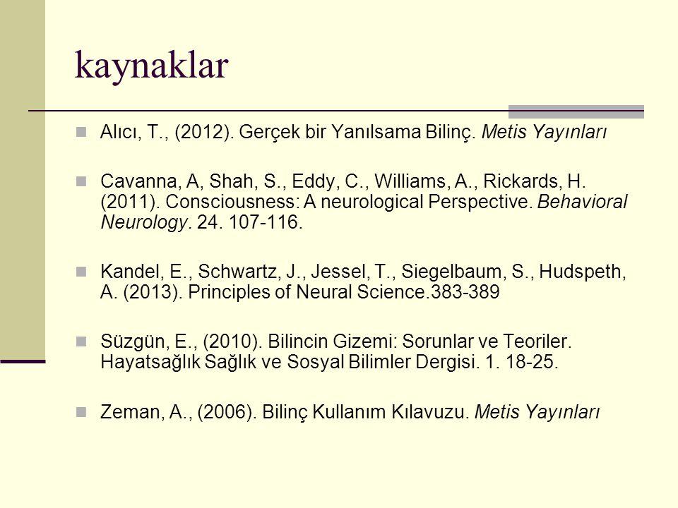kaynaklar Alıcı, T., (2012). Gerçek bir Yanılsama Bilinç. Metis Yayınları Cavanna, A, Shah, S., Eddy, C., Williams, A., Rickards, H. (2011). Conscious