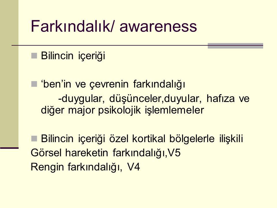 Farkındalık/ awareness Bilincin içeriği 'ben'in ve çevrenin farkındalığı -duygular, düşünceler,duyular, hafıza ve diğer major psikolojik işlemlemeler