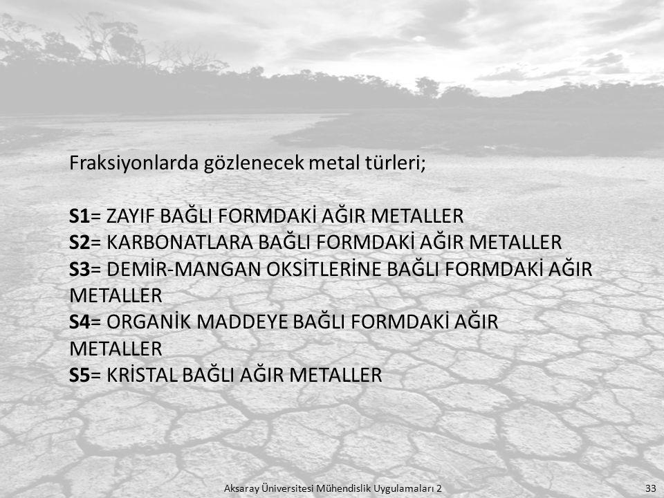 Aksaray Üniversitesi Mühendislik Uygulamaları 2 33 Fraksiyonlarda gözlenecek metal türleri; S1= ZAYIF BAĞLI FORMDAKİ AĞIR METALLER S2= KARBONATLARA BA