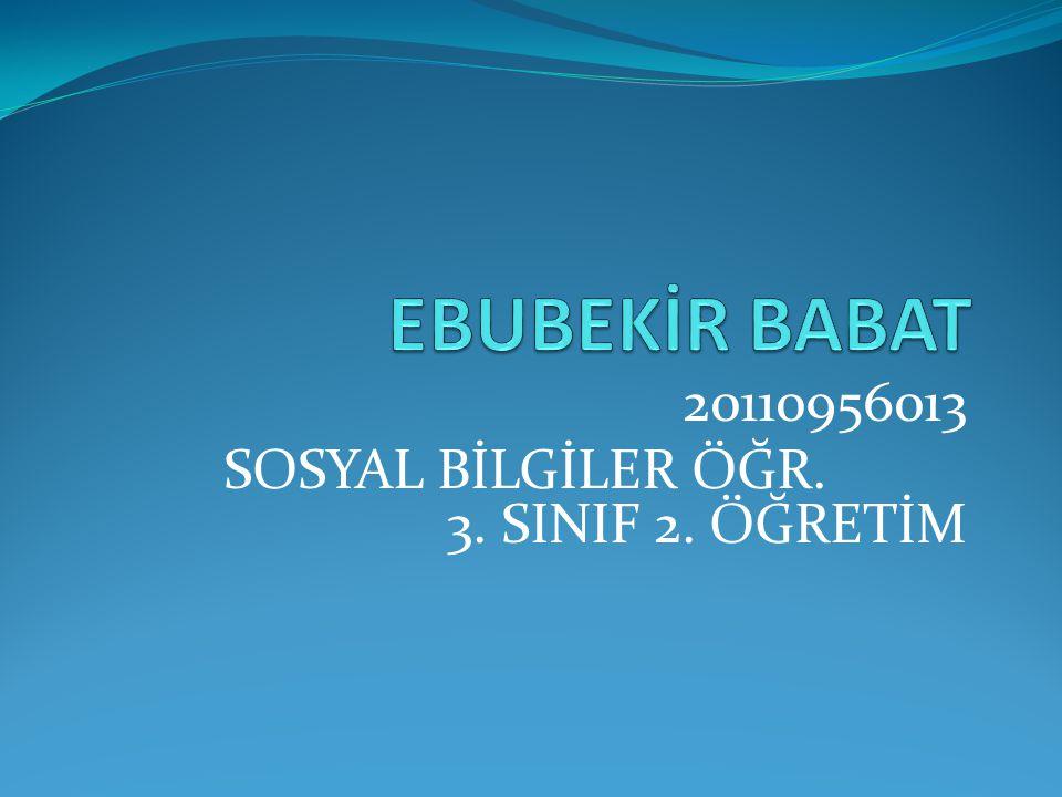 20110956013 SOSYAL BİLGİLER ÖĞR. 3. SINIF 2. ÖĞRETİM