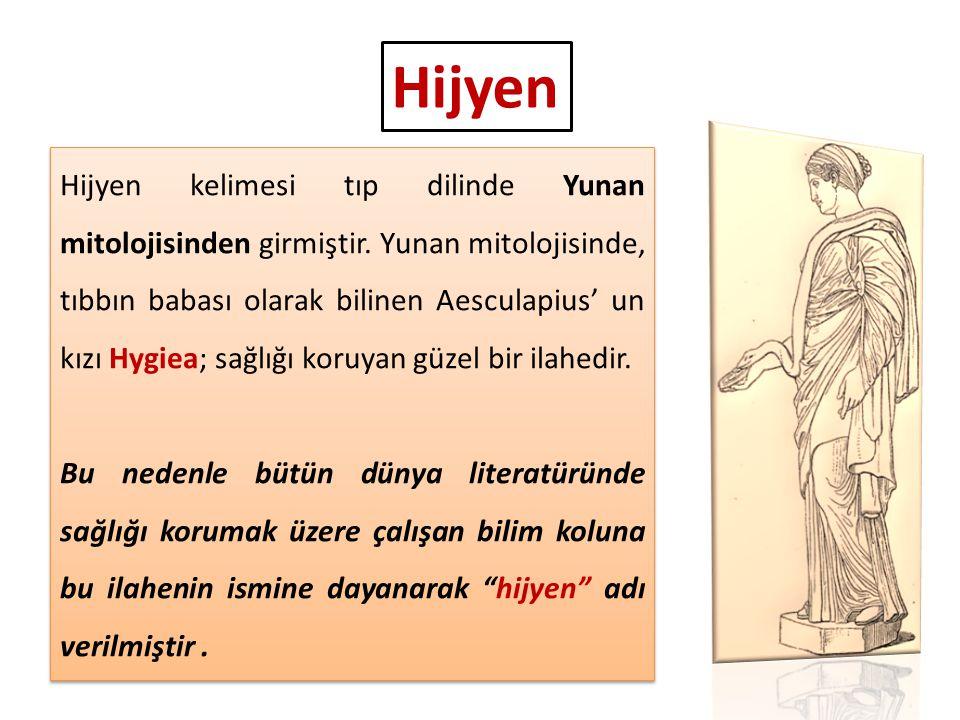 Hijyen kelimesi tıp dilinde Yunan mitolojisinden girmiştir. Yunan mitolojisinde, tıbbın babası olarak bilinen Aesculapius' un kızı Hygiea; sağlığı kor