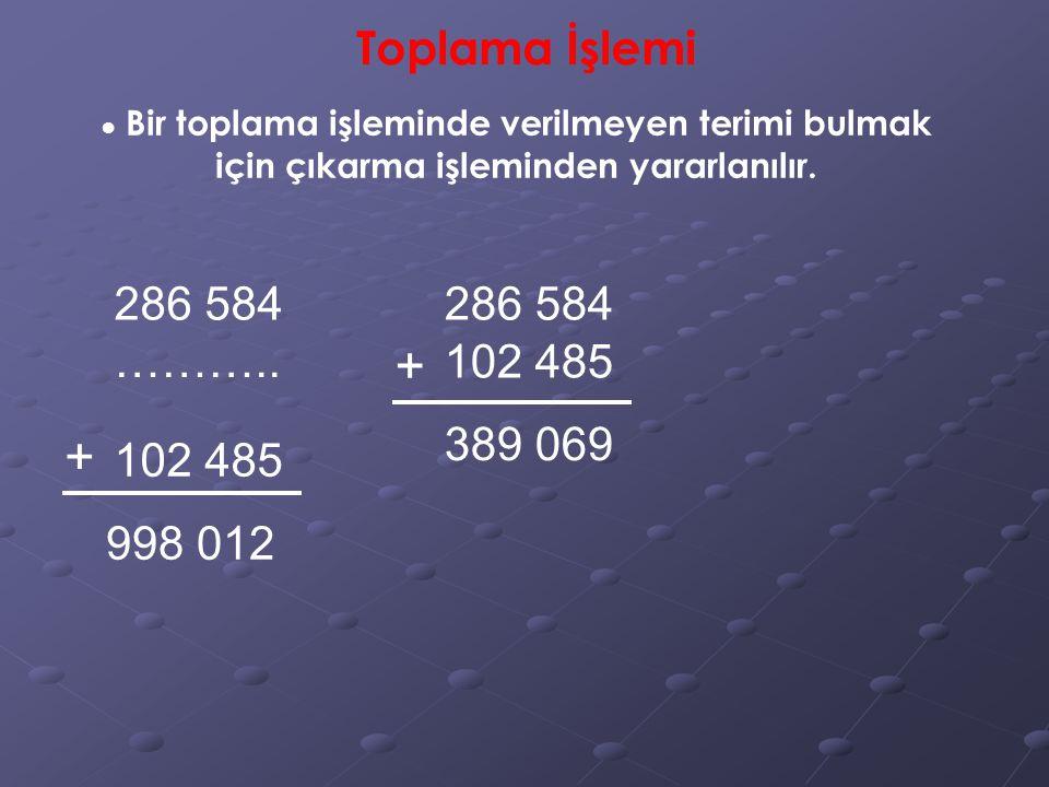 389 069 998 012 Toplama İşlemi ● Bir toplama işleminde verilmeyen terimi bulmak için çıkarma işleminden yararlanılır.