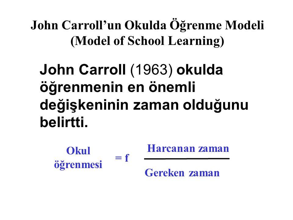 John Carroll (1963) okulda öğrenmenin en önemli değişkeninin zaman olduğunu belirtti. Okul öğrenmesi = f Harcanan zaman Gereken zaman John Carroll'un
