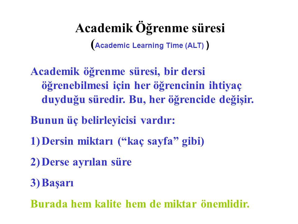 Academik öğrenme süresi, bir dersi öğrenebilmesi için her öğrencinin ihtiyaç duyduğu süredir.