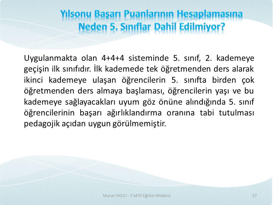 Murat YAZICI - İl Millî Eğitim Müdürü37 Uygulanmakta olan 4+4+4 sisteminde 5.