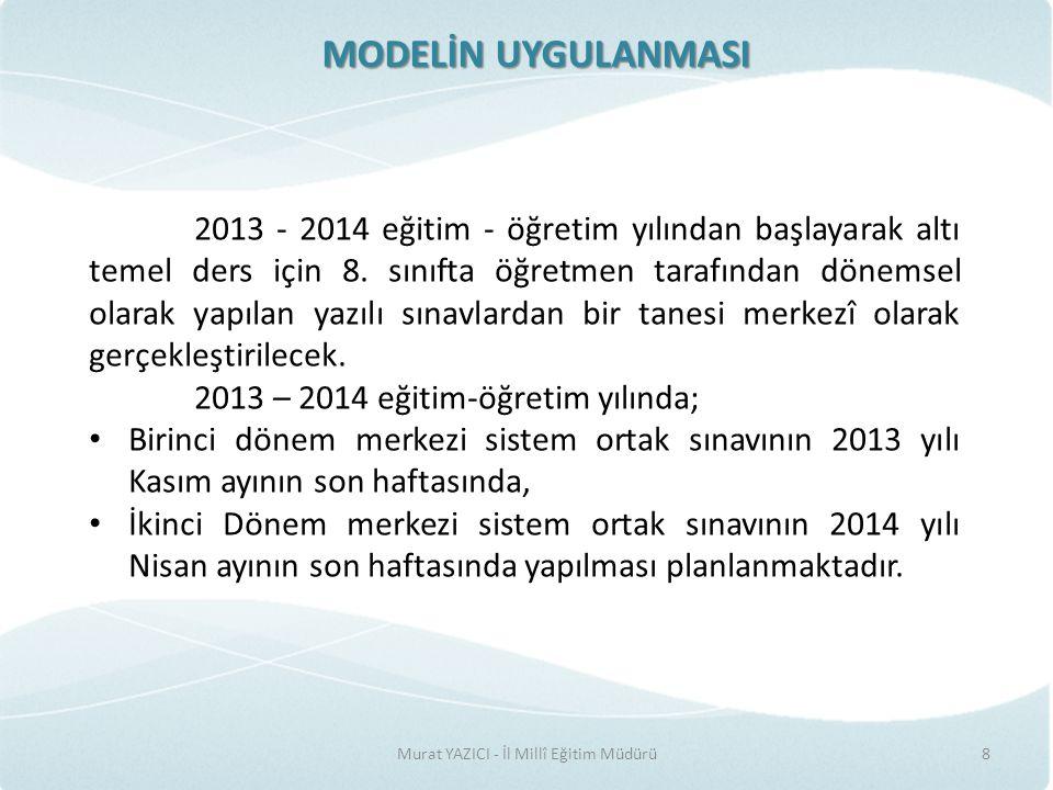 MODELİN UYGULANMASI Murat YAZICI - İl Millî Eğitim Müdürü8 2013 - 2014 eğitim - öğretim yılından başlayarak altı temel ders için 8.