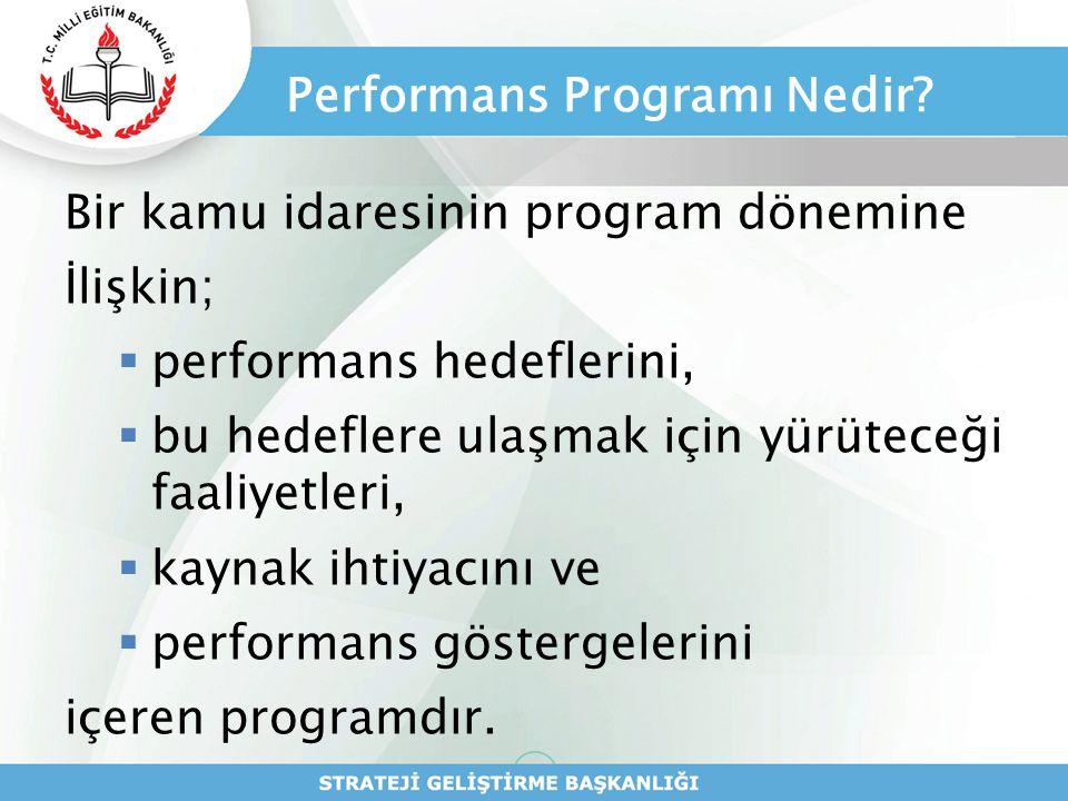 Performans Programı Nedir? Bir kamu idaresinin program dönemine İlişkin;  performans hedeflerini,  bu hedeflere ulaşmak için yürüteceği faaliyetleri