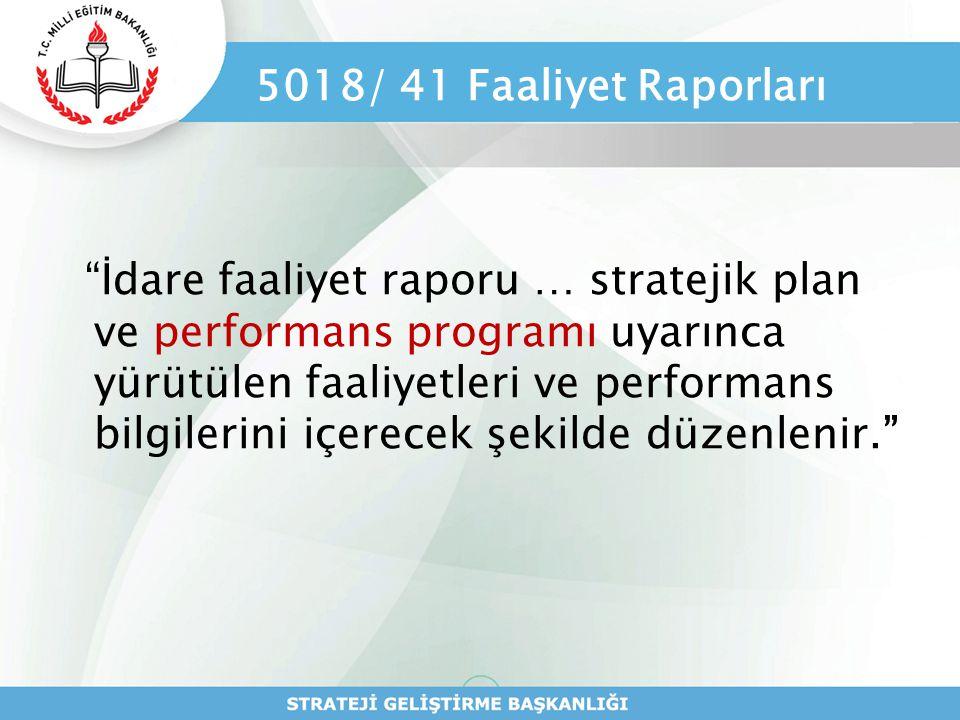 """5018/ 41 Faaliyet Raporları """"İdare faaliyet raporu … stratejik plan ve performans programı uyarınca yürütülen faaliyetleri ve performans bilgilerini i"""