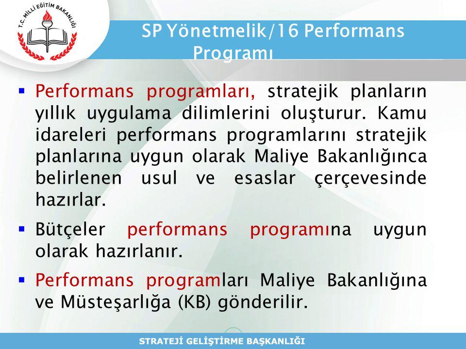 SP Yönetmelik/16 Performans Programı  Performans programları, stratejik planların yıllık uygulama dilimlerini oluşturur. Kamu idareleri performans pr