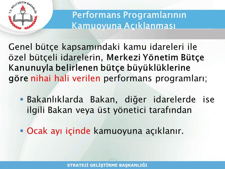 Performans Programlarının Kamuoyuna Açıklanması Genel bütçe kapsamındaki kamu idareleri ile özel bütçeli idarelerin, Merkezi Yönetim Bütçe Kanunuyla b