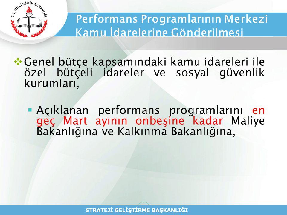 Performans Programlarının Merkezi Kamu İdarelerine Gönderilmesi  Genel bütçe kapsamındaki kamu idareleri ile özel bütçeli idareler ve sosyal güvenlik