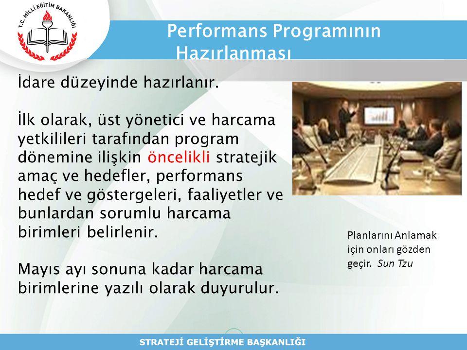 Performans Programının Hazırlanması İdare düzeyinde hazırlanır. İlk olarak, üst yönetici ve harcama yetkilileri tarafından program dönemine ilişkin ön