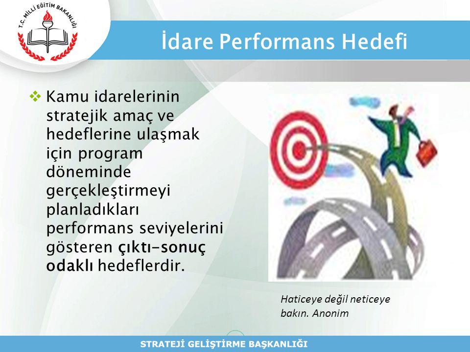 İdare Performans Hedefi  Kamu idarelerinin stratejik amaç ve hedeflerine ulaşmak için program döneminde gerçekleştirmeyi planladıkları performans sev