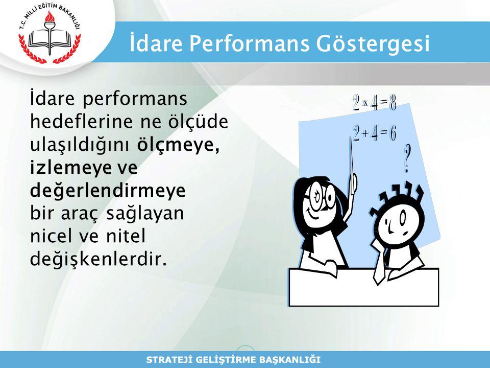 İdare Performans Göstergesi İdare performans hedeflerine ne ölçüde ulaşıldığını ölçmeye, izlemeye ve değerlendirmeye bir araç sağlayan nicel ve nitel
