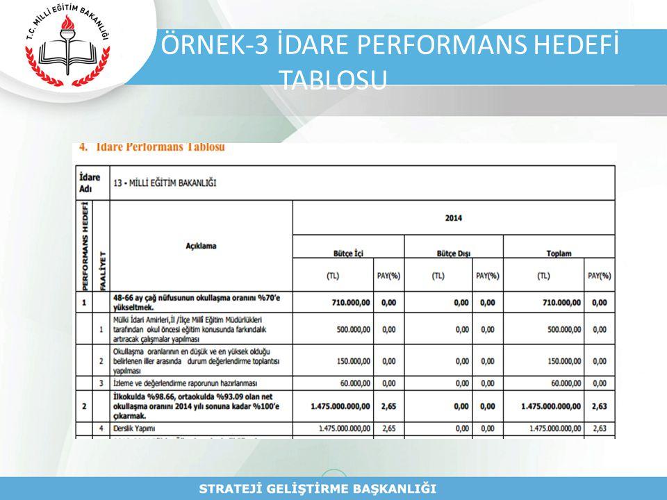 ÖRNEK-3 İDARE PERFORMANS HEDEFİ TABLOSU