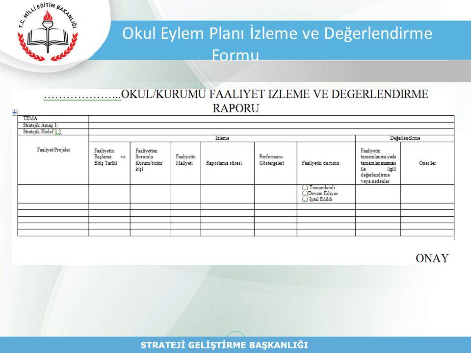 Okul Eylem Planı İzleme ve Değerlendirme Formu