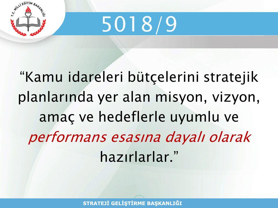 """5018/9 """"Kamu idareleri bütçelerini stratejik planlarında yer alan misyon, vizyon, amaç ve hedeflerle uyumlu ve performans esasına dayalı olarak hazırl"""