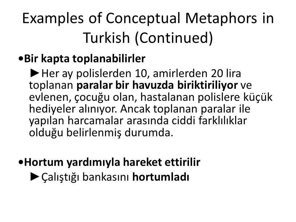 Examples of Conceptual Metaphors in Turkish (Continued) Bir kapta toplanabilirler ► Her ay polislerden 10, amirlerden 20 lira toplanan paralar bir hav