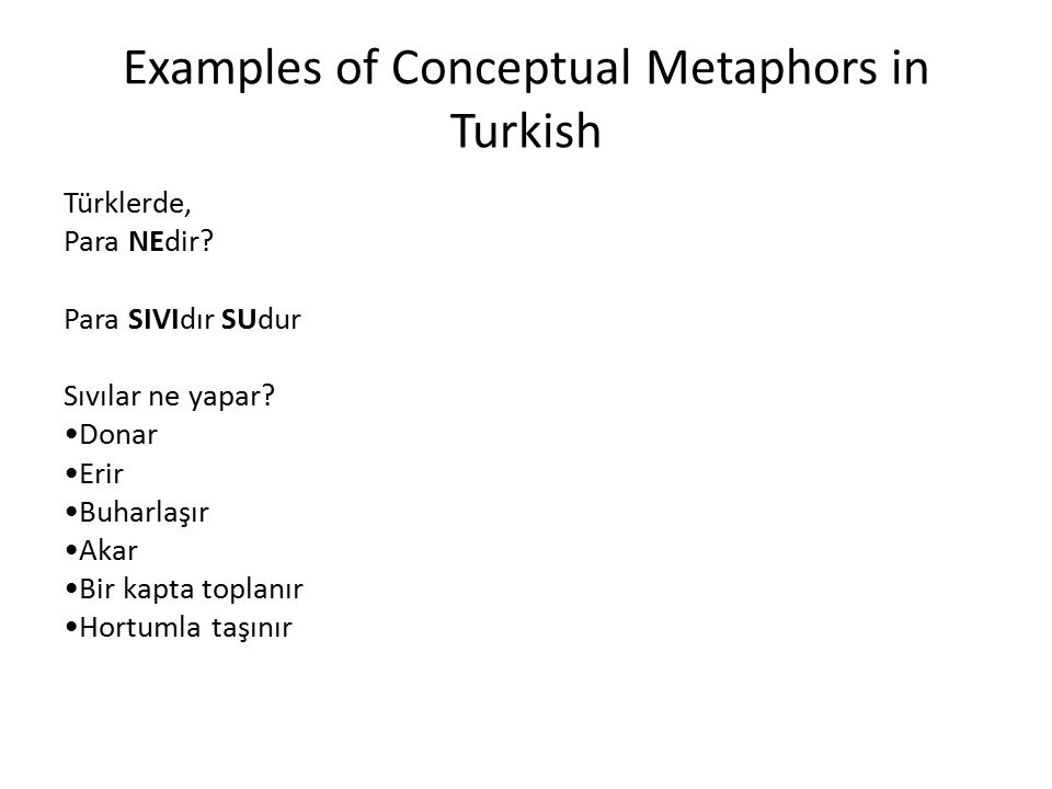 Examples of Conceptual Metaphors in Turkish Türklerde, Para NEdir.