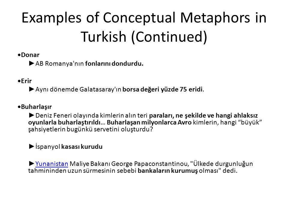 Examples of Conceptual Metaphors in Turkish (Continued) Donar ► AB Romanya'nın fonlarını dondurdu. Erir ► Aynı dönemde Galatasaray'ın borsa değeri yüz