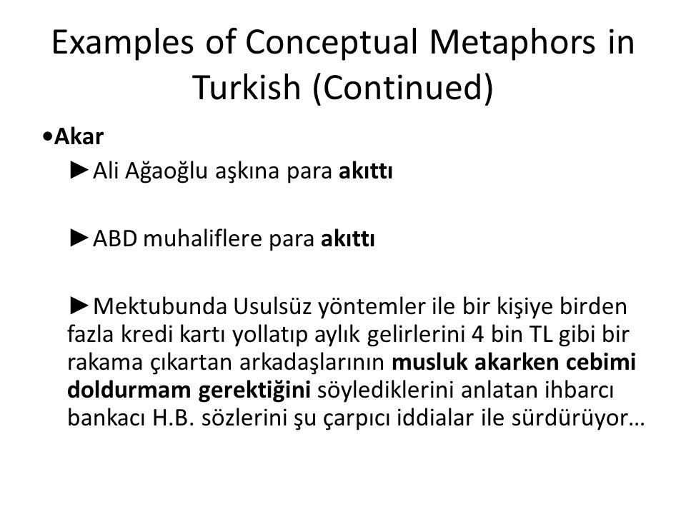 Examples of Conceptual Metaphors in Turkish (Continued) Akar ► Ali Ağaoğlu aşkına para akıttı ► ABD muhaliflere para akıttı ► Mektubunda Usulsüz yönte