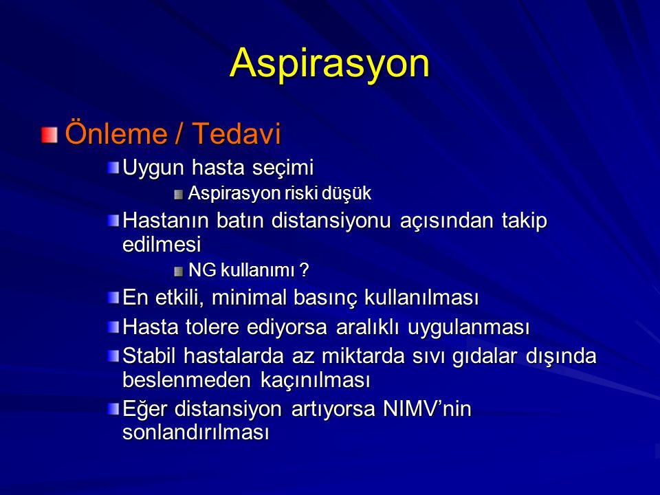 Aspirasyon Önleme / Tedavi Uygun hasta seçimi Aspirasyon riski düşük Hastanın batın distansiyonu açısından takip edilmesi NG kullanımı ? En etkili, mi