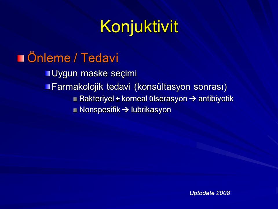Konjuktivit Önleme / Tedavi Uygun maske seçimi Farmakolojik tedavi (konsültasyon sonrası) Bakteriyel ± korneal ülserasyon  antibiyotik Nonspesifik 