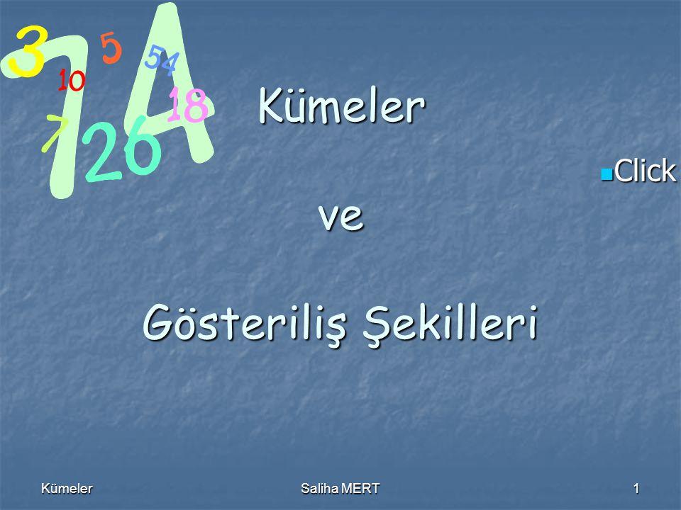 Click to edit Master text styles Click to edit Master text styles KümelerSaliha MERT1 Kümeler ve Gösteriliş Şekilleri