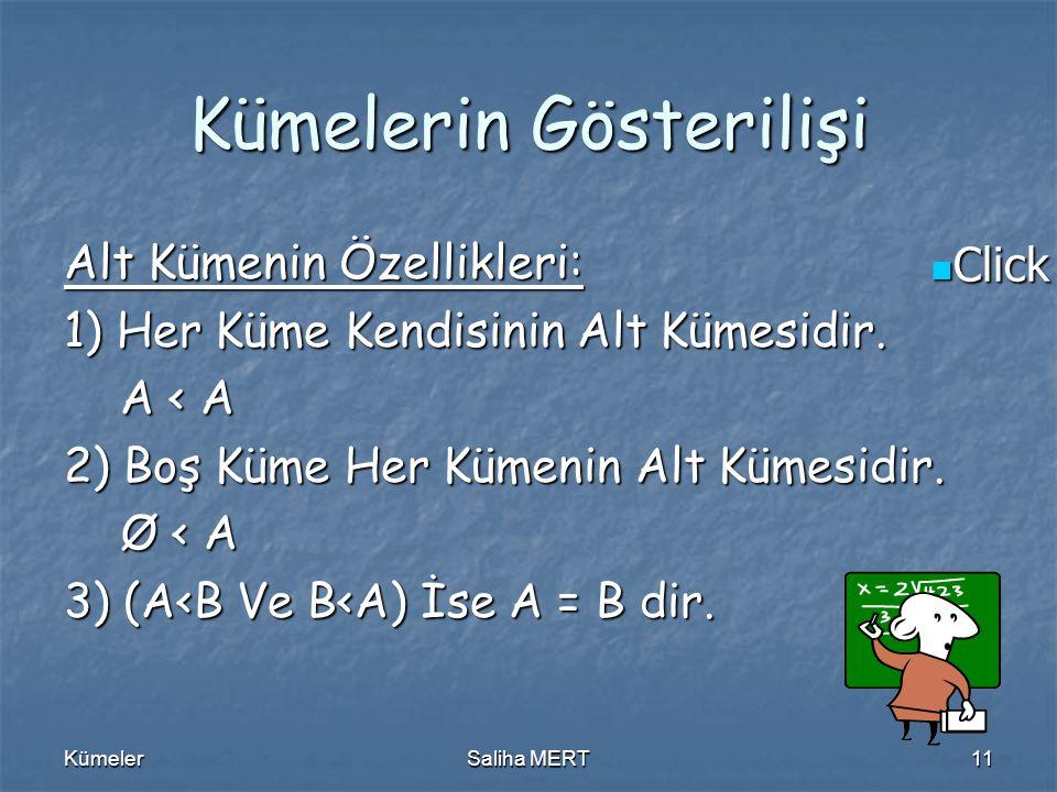 Click to edit Master text styles Click to edit Master text styles KümelerSaliha MERT11 Kümelerin Gösterilişi Alt Kümenin Özellikleri: 1) Her Küme Kendisinin Alt Kümesidir.