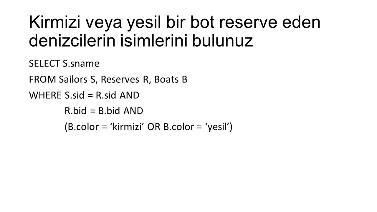 Kirmizi veya yesil bir bot reserve eden denizcilerin isimlerini bulunuz SELECT S.sname FROM Sailors S, Reserves R, Boats B WHERE S.sid = R.sid AND R.bid = B.bid AND (B.color = 'kirmizi' OR B.color = 'yesil')
