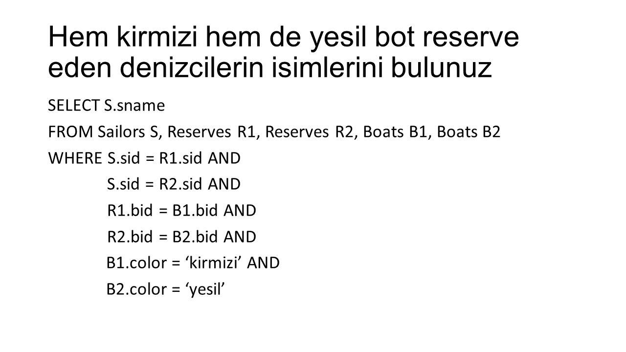 Hem kirmizi hem de yesil bot reserve eden denizcilerin isimlerini bulunuz SELECT S.sname FROM Sailors S, Reserves R1, Reserves R2, Boats B1, Boats B2 WHERE S.sid = R1.sid AND S.sid = R2.sid AND R1.bid = B1.bid AND R2.bid = B2.bid AND B1.color = 'kirmizi' AND B2.color = 'yesil'