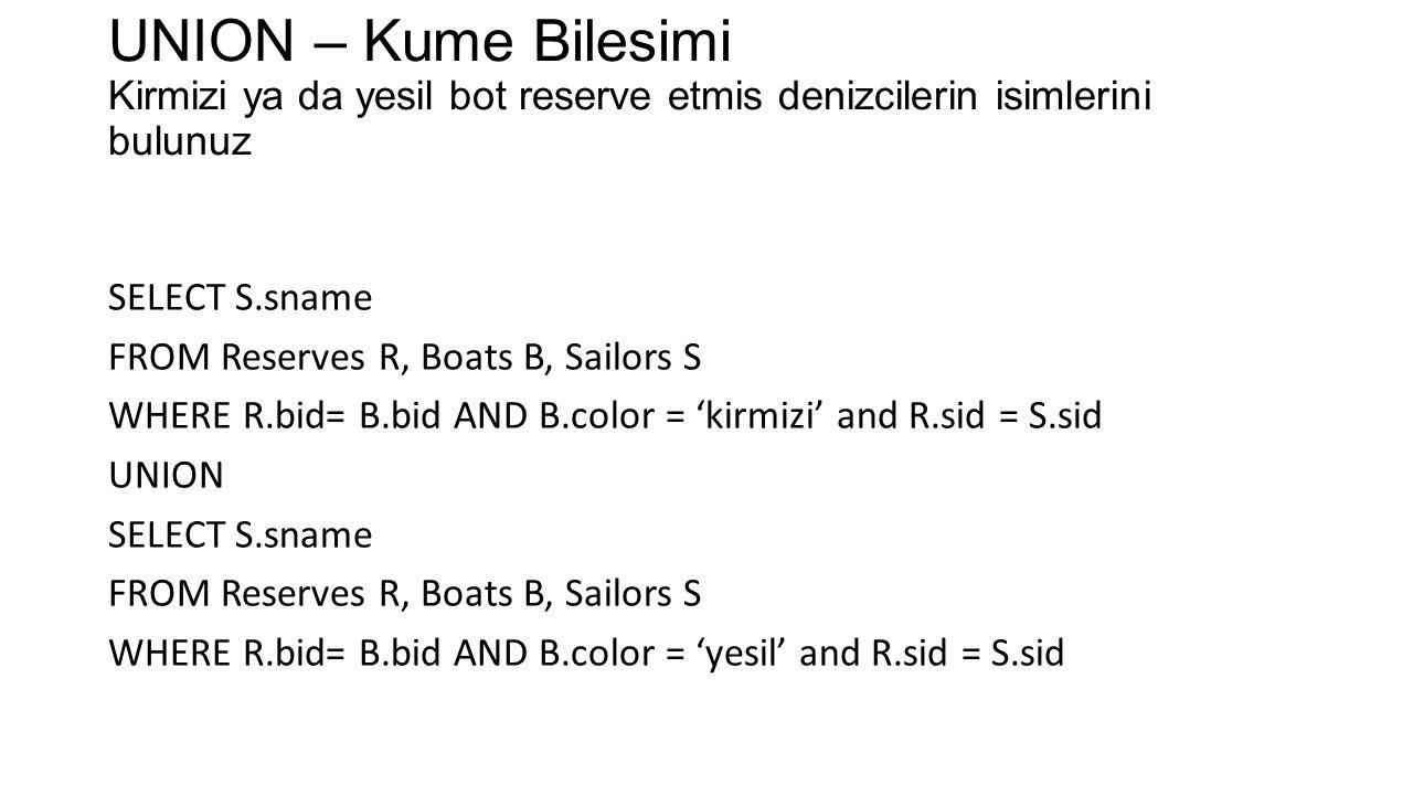 UNION – Kume Bilesimi Kirmizi ya da yesil bot reserve etmis denizcilerin isimlerini bulunuz SELECT S.sname FROM Reserves R, Boats B, Sailors S WHERE R.bid= B.bid AND B.color = 'kirmizi' and R.sid = S.sid UNION SELECT S.sname FROM Reserves R, Boats B, Sailors S WHERE R.bid= B.bid AND B.color = 'yesil' and R.sid = S.sid