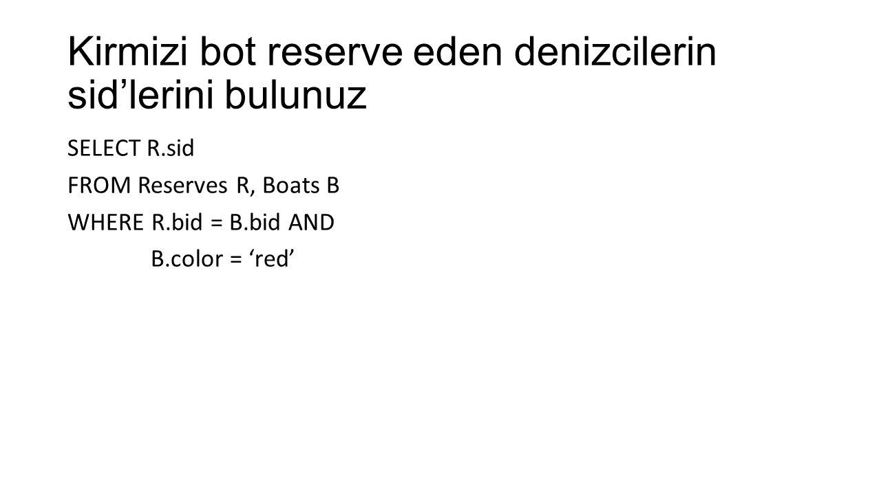 Kirmizi bot reserve eden denizcilerin isimlerini bulunuz SELECT S.sname FROM Sailors S, Reserves R, Boats B WHERE S.sid = R.sid AND R.bid = B.bid and B.color = 'kirmizi'