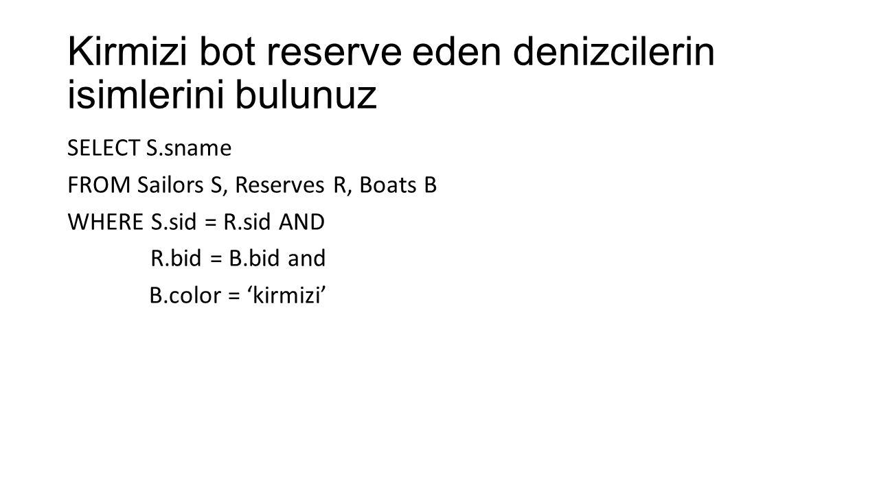 Bob isimli denizci tarafindan reserve edilen botlarin renklerini bulunuz SELECT B.color FROM Boats B, Reserves R, Sailors S WHERE B.bid = R.bid AND R.sid = S.sid AND S.sname = 'Bob'